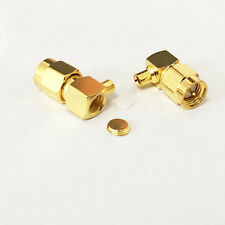 10pcs SMA male plug solder RF coax connector for RG405 cable right angle gold