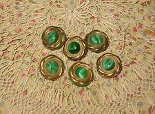 6 Vtg Green Cat Tiger Eye Set Centers & Gold Flower Glass Dome Shank Buttons