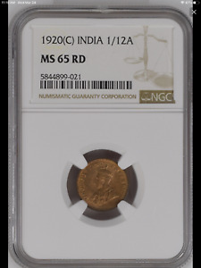 1920 (C) India British 1/12 Anna coin NGC MS-65 RED Highest Graded! Top Pop!