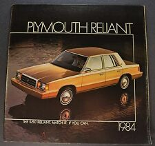 1984 Plymouth Reliant Catalog Sales Brochure SE Wagon Excellent Original 84