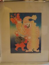 """Original Color Etching by Motoi Oi, Artist Signed, Numbered  """"Butterfly Clown"""""""