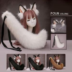 Faux Fur Fox Wolf Ears Headband and Furry Long Tail Women Girl Cosplay Costume