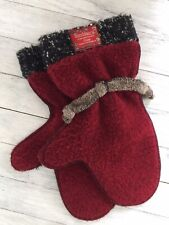 Women's Birchberry of Minnesota Fleece Mittens Red Black & Taupe Very FUN!