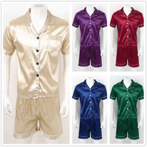 Mens Silk Satin Pajamas Set PLUS SIZE sleepwear Nightwear 2 Piece Shirt Shorts