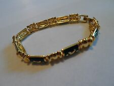 JOAN RIVERS Gold Tone Bracelet With Green Resin/Enamel