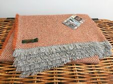 TWEEDMILL TEXTILES RECYCLED WOOL MIX ORANGE RUST GREY PICNIC BLANKET THROW RUG