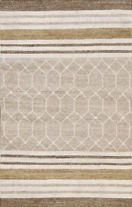 Contemporary Geometric Wool/ Silk Hand-knotted Abstract Oriental Area Rug 4x6 ft