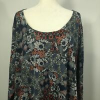 Nally & Millie Women's Top Tunic USA Plus Size Red Blue Floral