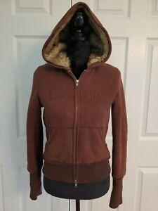 Vintage Abercrombie & Fitch Fully Faux Fur Lined Zip Hoodie Sweatshirt Brown