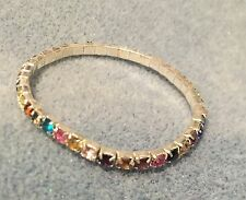 Formal/Bridal Silver Multi Colour Crystal Diamante Rhinestone Stretchy Bracelet