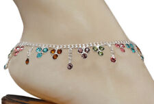CZMS1- Bollywood Designer CZ Silver Tone Indian Anklets Payal - 1 Pair ( 2 Pcs )