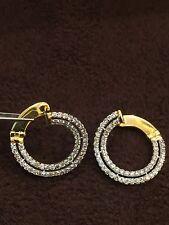 Pave 1.75 Cts Round Brilliant Cut Diamonds Hoop Earring In Hallmark 14Karat Gold
