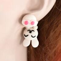 Cartoon 3D Animal Handmade Polymer Clay Bunny Handstand Ear Stud Earrings Gift