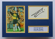 More details for ed de goey in chelsea shirt hand signed a4 autograph photo mount display + coa