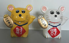 2X Ceramic Chinese Lucky Cat:  Maneki-Neko Figure Statue Ornament Money Bank