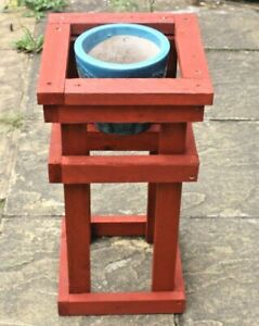Wooden Plant Pot Stand Holder Indoor Outdoor Garden Flower Planter Red Green