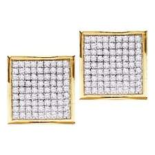 10k Yellow Gold Womens Round Diamond Square Cluster Stud Earrings 1/20 Cttw