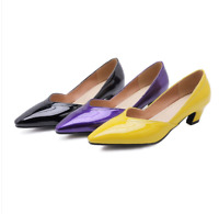 Women Patent Leather Pumps Block Kitten Heels Shoes Pointed Toe Slip On OL Party