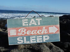 EAT BEACH SLEEP ARROW Rustic Weathered Reclaimed Wood Plank Home Decor Sign NEW