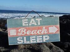 EAT BEACH SLEEP ARROW Rustic Weathered Reclaimed Wood Plank Home Decor Sign NEW