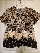 "New listing Tafford Scrub Top Size Xs-Leopard print w/Floral bottom-19"" armpit across-Nice!"