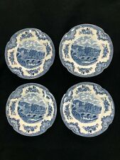 "Set of 4 Johnson Bros Old Britain Castles Haddon Hall 6"" Bread Plate Blue"