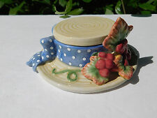 Fitz and Floyd Hat Boxes - Grape Cluster Hat Box Trinket Covered Box