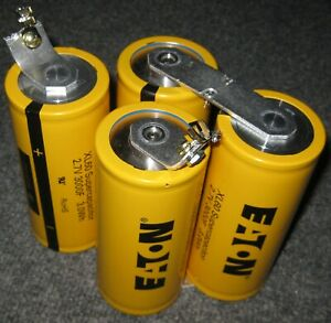 4 EATON 3000 Farad 2.7V Capacitors in Series - 750F 10.8V Total - Supercapacitor