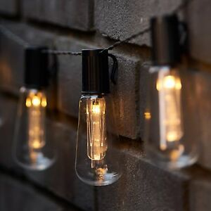 LED Solar Powered Vintage Edison Bulb String Lights Garden Outdoor Fairy Summer