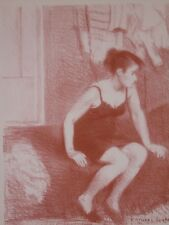 Behind Screen-Model Resting-Sepia Tone Lithograph-1949-Raphael Soyer