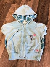 Naartjie Teal Blue Sequins & Buttons Hooded Jacket Size 5 EUC