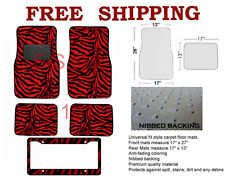 Animal Print Red Zebra Carpet Floor Mats For Car Truck License Plate Frame