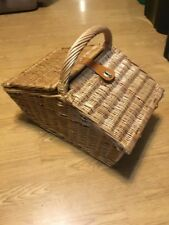 "Vintage 30 Piece Tupperware Loaded Wicker Picnic Basket 18.5"" X 12"" X 15"""