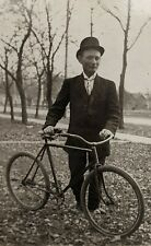Vintage Antique Real Photo Postcard RPPC Man with 2 Wheel Bicycle 1909