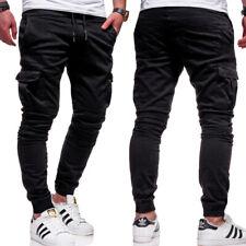 Herren Cargo Chino Hose Jogger Jeans Cargohose Jogginghose Stretch Pants NEU