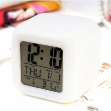 NEW Glowing LED Clock Color Change Light Digital Display Temperature Cube Touch