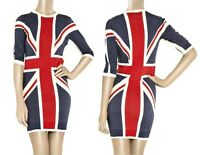 AUTH D&G Dolce & Gabbana wool british flag printed sweater dress 40