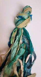 Recycled Sari Silk Ribbon pack - Green Mix