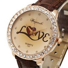 New Love Design Lady Girl Women Quartz Wrist Watch Bracelet Vintage Crystal Dial