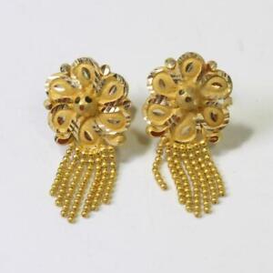 19kt Gold 4.7g Flower Dangle Earrings