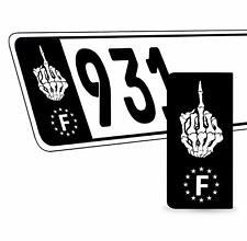 2 x Vinyle Plaque D'Immatriculation Adhésif Crâne UE Européen Badge France QV 32