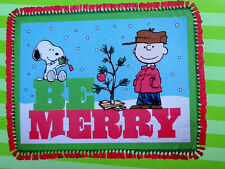 PEANUTS CHARLIE BROWN SNOOPY  BE MERRY CHRISTMAS TREE NO SEW FLEECE BLKT 48X60