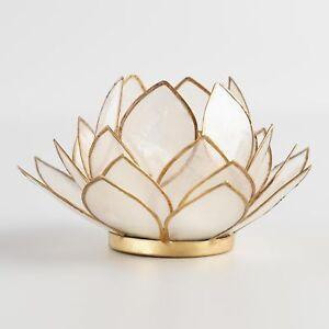 White Capiz Shell Lotus Petal Blossom Tea Light Candle Holder ~ Hand Crafted