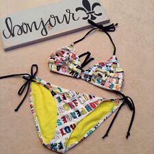Maui And Sons Swim Womens Size M Monogram 2pc Bikini Set Yellow Ruffle Top BF