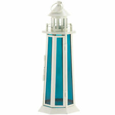 Lighthouse Candle Lantern with Ocean Blue Glass