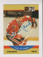 Autographed 1990 Pro Set #405 Stan Mikita card, Chicago Blackhawks HOF