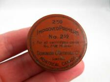 ANTIQUE IMPROVED PRIMERS NO. 2 1/2 DOMINION CARTRIDGE CO. MONTREAL CANADA TIN