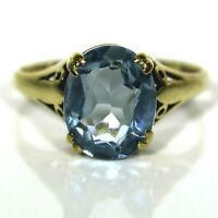 Oval Blue Topaz Solitaire 9ct Yellow Gold ring size L 1/2 ~ 6