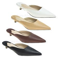 AnnaKastle Womens Pointy Toe Low Kitten Heel Mule Slide Sandal