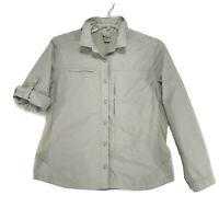 L. L. Bean VENTED Outdoor Semi Fitted Shirt Womens L Beige L Tab Sleeve w Mesh